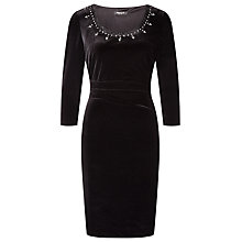 Buy Precis Petite Embellished Velvet Dress, Black Online at johnlewis.com
