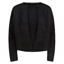 Buy Jaeger Textured Panel Cropped Knitted Jacket, Black Online at johnlewis.com