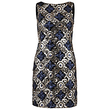 Buy Gina Bacconi Sequin Mini Dress, Blue/Gold Online at johnlewis.com