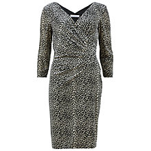 Buy Gina Bacconi Velour Leopard Print Wrap Dress, Black/Multi Online at johnlewis.com