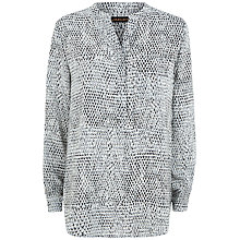 Buy Jaeger Silk Stitch Print Tunic Top, Grey Online at johnlewis.com