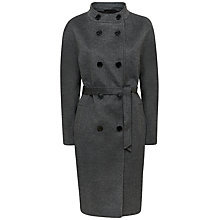 Buy Jaeger Wool Cashmere Funnel Neck Coat, Grey Melange Online at johnlewis.com