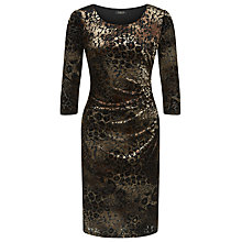 Buy Precis Petite Animal Print Velvet Dress, Brown/Multi Online at johnlewis.com