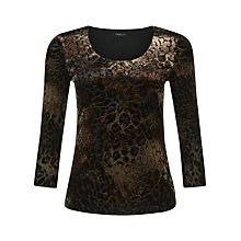 Buy Precis Petite Animal Burnout Top, Brown Online at johnlewis.com