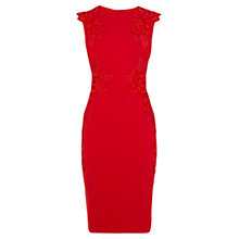 Buy Karen Millen Floral Velvet Applique Dress, Red Online at johnlewis.com