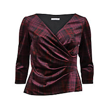 Buy Gina Bacconi Tartan Velour Wrap Top, Wine Online at johnlewis.com