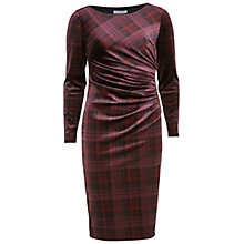 Buy Gina Bacconi Tartan Print Velour Dress, Wine Online at johnlewis.com