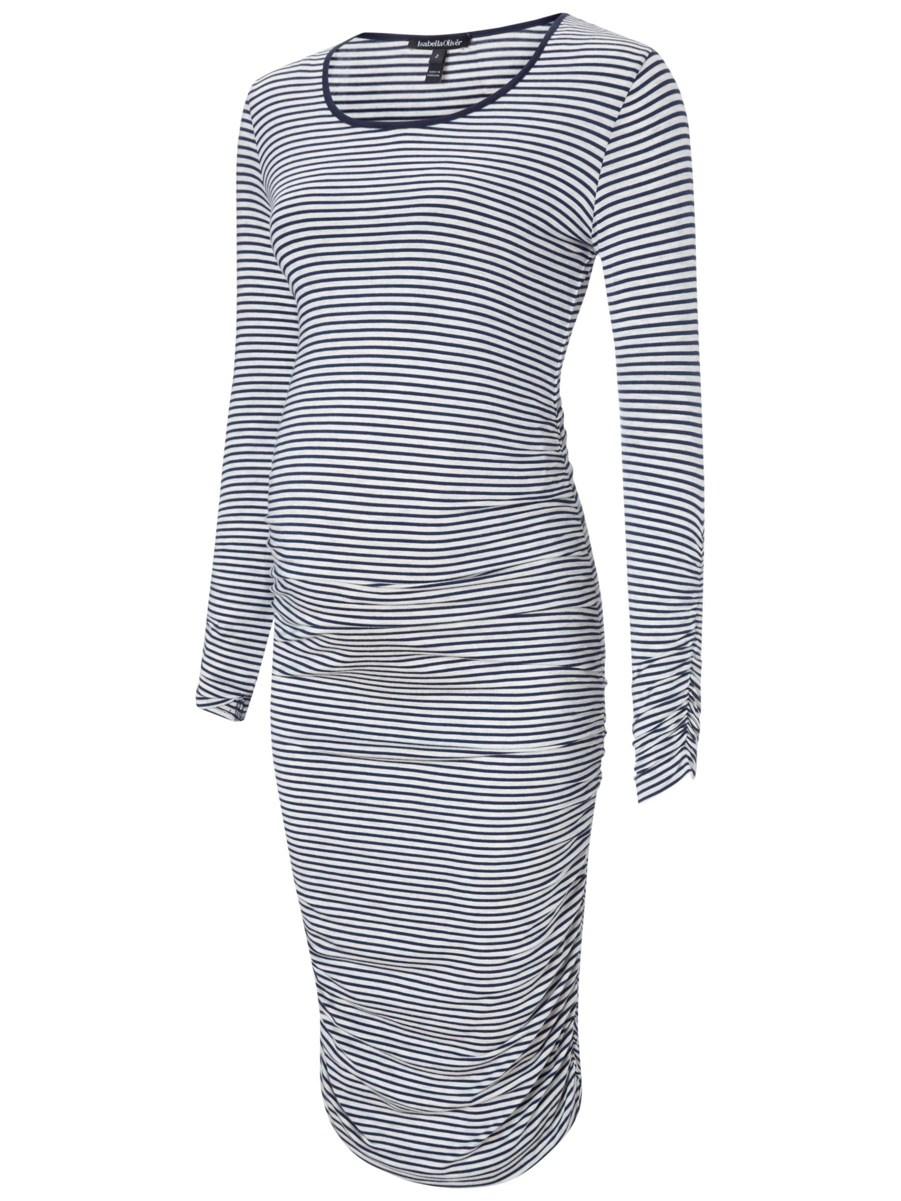 Isabella Oliver Isabella Oliver Betty Stripe Maternity Dress, Navy/White
