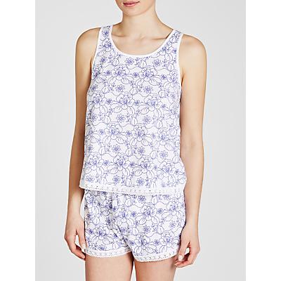 John Lewis Jersey Stitch Floral Vest And Short Pyjama Set, White/Blue