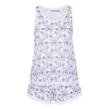 Buy John Lewis Stitch Floral Vest And Short Pyjama Set, White/Blue Online at johnlewis.com