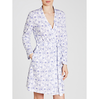 John Lewis Stitch Floral Jersey Robe, White/Blue