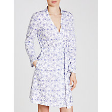 Buy John Lewis Stitch Floral Jersey Robe, White/Blue Online at johnlewis.com