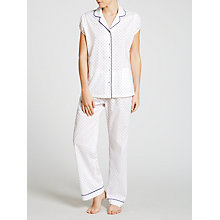 Buy John Lewis Clipped Jacquard Pyjama Set, White/Blue Online at johnlewis.com