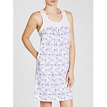 Buy John Lewis Stitch Floral Jersey Chemise, White/Blue Online at johnlewis.com