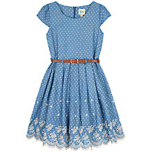 Buy Yumi Girl Polka Dot Broderie Hem Dress, Blue Online at johnlewis.com