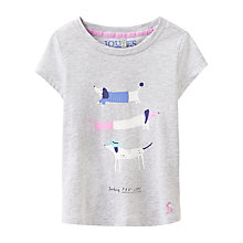 Buy Little Joule Girls' Paw-Some Dog T-Shirt, Grey Online at johnlewis.com