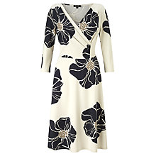 Buy Bruce by Bruce Oldfield Jersey Flower Wrap Dress, Cream/Black Online at johnlewis.com