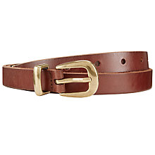 Buy John Lewis Sienna Skinny Leather Gold Tip Belt, Brown Online at johnlewis.com