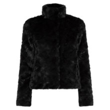 Buy Oasis Short Faux Fur Coat, Black Online at johnlewis.com