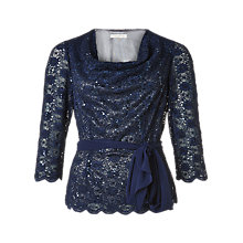 Buy Jacques Vert Stretch Lace Cowl Top, Multi Navy Online at johnlewis.com