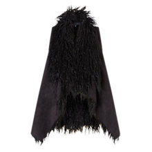 Buy East Faux Fur Waterfall Gilet, Black Online at johnlewis.com