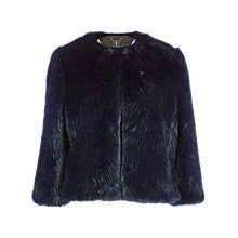 Buy Ted Baker Forysia Cropped Faux Fur Jacket, Mid Blue Online at johnlewis.com