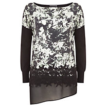 Buy Mint Velvet Naomi Silk Front Jumper, Black Online at johnlewis.com