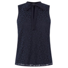 Buy Warehouse Lace Pussybow Top, Navy Online at johnlewis.com