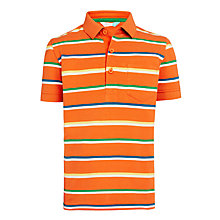 Buy John Lewis Boys' Multi Stripe Polo Shirt, Orange/Blue Online at johnlewis.com