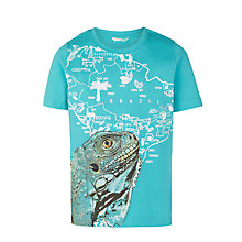 Buy John Lewis Boys' Iguana Map T-Shirt, Blue Online at johnlewis.com