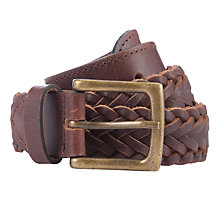 Buy John Lewis Boys' Leather Plait Belt, Tan Online at johnlewis.com