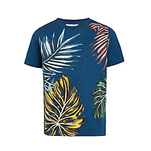 Buy John Lewis Boys' Leaf Print T-Shirt, Blue Online at johnlewis.com