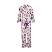 Buy Cyberjammies Rose Floral Print Pyjama Set, White/Pink Online at johnlewis.com