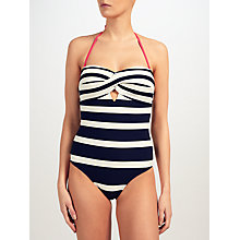 Buy Ted Baker Cirana Bandeau Striped Swimsuit, Navy/White Online at johnlewis.com