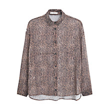 Buy Mango Leopard Print Blouse, Medium Brown Online at johnlewis.com
