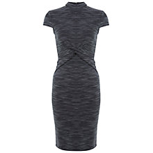 Buy Miss Selfridge High Neck Twist Detail Dress, Grey Online at johnlewis.com