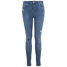 Buy Miss Selfridge Lizzie Rip Jeans, Mid Wash Online at johnlewis.com
