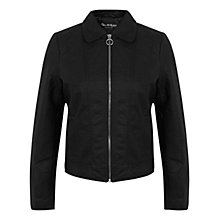 Buy Miss Selfridge Harrington Biker Jacket, Black Online at johnlewis.com