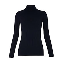 Buy Whistles Rib Roll Neck Jumper, Navy Online at johnlewis.com