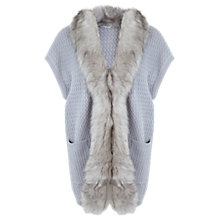 Buy Miss Selfridge Luxe Faux Fur Collar Sleeveless Cardigan, Mid Grey Online at johnlewis.com