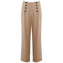Buy Miss Selfridge High Waist Button Trousers, Camel Online at johnlewis.com