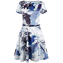 Buy Closet Floral Skater Dress, Blue Online at johnlewis.com