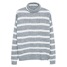 Buy Mango Striped Rib Roll Neck Sweater, Light Pastel Grey Online at johnlewis.com