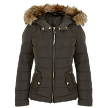 Buy Miss Selfridge Short Padded Coat, Khaki Online at johnlewis.com