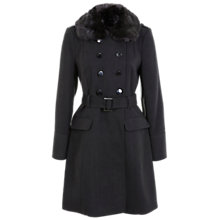 Buy Miss Selfridge Belted Military Coat With Faux Fur Collar Online at johnlewis.com