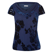 Buy Jacques Vert Floral Devore Blouse, Navy Online at johnlewis.com