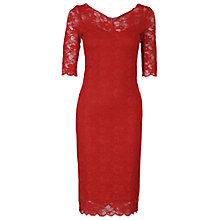 Buy Jolie Moi Three Quarter Sleeve Lace Dress, Red Online at johnlewis.com