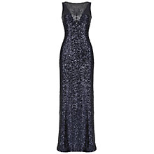Buy Belle by Badgley Mischka Sequin V-Neck Gown, Navy Online at johnlewis.com