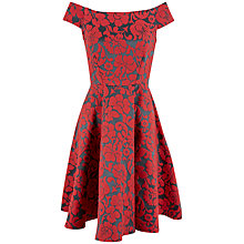 Buy Closet Off-The-Shoulder Jacquard Dress, Red Online at johnlewis.com