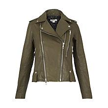 Buy Whistles Payne Leather Biker Jacket, Khaki Online at johnlewis.com